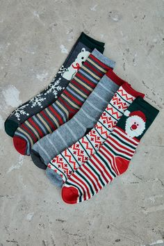 Patterned Graphic Crew Sock 5-Pack