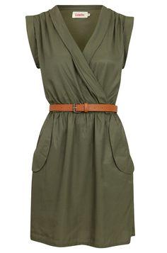 Louche Zaza Wrap Dress - Khaki