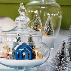 Snowy holiday vignette: looks like a lot of pre shopping for items needed to make this one, probably costly too, but makes for an elegant display if it suits your purposes.