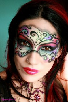 Halloween makeup - mask- art - colorful- Make-up Artist Me!: Masked Beauty - Masquerade Costume Makeup Tutorial