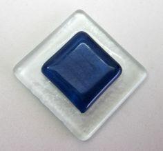 placa de vidro  para composição de mosaicos , bijuterias ou outras aplicações decorativas e artesanais 4 x 4 cm incolor e azul escuro Pacote 1 peça TEMOS EM TODAS AS CORES R$4,20