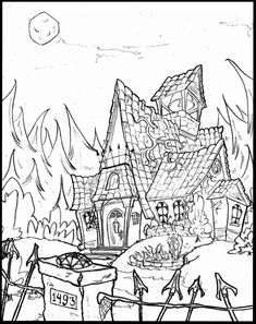 Haunted House Coloring Pages . 31 Inspirational Haunted House Coloring Pages . Coloring Ideas Coloring Ideas Disneyland Pages Free Art Scary Coloring Pages, Halloween Coloring Pages Printable, Jungle Coloring Pages, Diy Coloring Books, House Colouring Pages, Coloring Pages To Print, Coloring Book Pages, Coloring Sheets, House Drawing For Kids