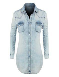 Chambray Jean Denim Shirt Dress