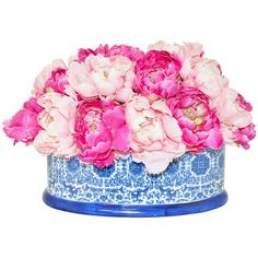 Pink Faux Peonies in Blue/White Container - Artificial Flower... ❤ liked on Polyvore featuring home, home decor, floral decor, flowers, silk flower bouquets, fake flowers, silk flowers, fabric flowers and pink fake flowers