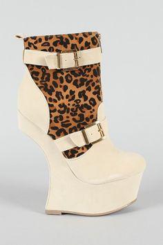 Snooki Leopard Buckle Heel Less Curved Wedge Bootie