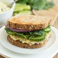 When I was a kid, my absolute favorite lunch was fried tofu sandwiches--which basically consisted of scrambled tofu (kind of like the version used in these breakfast burritos), a homemade vegan mayonnaise (my dad made Tofu Sandwich, Egg Salad Sandwiches, Delicious Sandwiches, Vegan Sandwiches, Vegan Alternative To Eggs, Vegan Lemon Cake, Vegan Mayonnaise, Onion Relish, Vegan Mac And Cheese