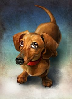 Puppy, an art print by Jeremy Norton Artist This is a gallery-quality giclée art print on cotton rag archival paper, printed with archival inks. Arte Dachshund, Basset Dachshund, Dachshund Love, Daschund, Animal Paintings, Animal Drawings, Cute Drawings, Weenie Dogs, Doggies