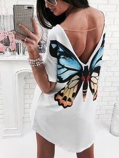 NEW Sexy Women Summer Deep V-Neck Backless Blouse Shirts Short Sleeve Ladies Shirt Loose Casual Tops Blouse White Outfit Sunsuit Butterfly Shirts, Butterfly Dress, Butterfly Print, Butterfly Fashion, Monarch Butterfly, Butterfly Costume, Orange Butterfly, Vintage Butterfly, Diy Fashion
