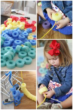 Today is our first day of our 4-week Toddler Time challenge! Since it is Monday, our activity is focusing on colors. This Sorting and Threading Fo