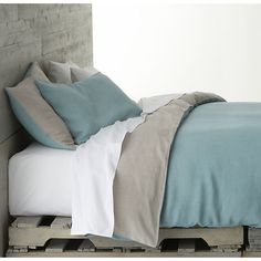 Azure King Duvet Cover in Duvet Covers   Crate and Barrel - two of my favorite colors for a bedroom: light charcoal grey x muted serene blue in ONE PIECE OF BEDDING!! :D