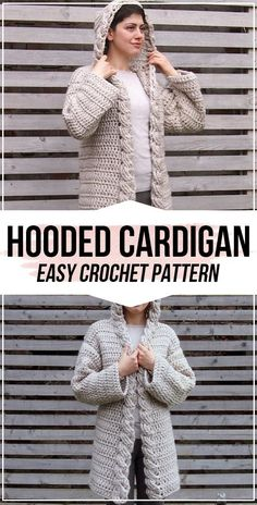 crochet Women Cable Hooded Cardigan pattern Crochet Women Cable Hooded Cardigan FREE Pattern - easy crochet Cardigan pattern for beginners Crochet Cable, Crochet Coat, Crochet Jacket, Easy Crochet, Crochet Clothes, Crochet Sweaters, Crochet Dolls, Coat Patterns, Clothing Patterns