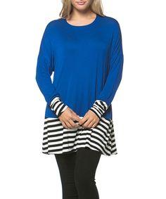 Look at this #zulilyfind! Royal Blue & Black Stripe Scoop Neck Tunic by 42POPS #zulilyfinds