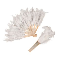 """These feather fans are fun, feminine favors for the ladies at your wedding. Each feather fan has a wooden handle and frame. 11 1/2"""" © OTC"""