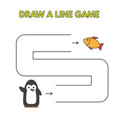 Cartoon penguin draw a line game for kids vector image on VectorStock Logic Games For Kids, Activity Games For Kids, Mazes For Kids, Educational Games For Kids, Games For Toddlers, Worksheets For Kids, Fun Activities, Penguin Drawing, Games