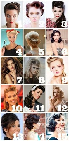 15 Cute Retro Hairstyles- Number 4 and 9 are my favs! I would wear them with my fav polka dot vintage dress and heels 15 Cute Retro Hairstyles- Number 4 and 9 are my favs! I would wear them with my fav polka dot vintage dress and heels Retro Hairstyles, Wedding Hairstyles, Fashion Hairstyles, Pin Up Hairstyles, Model Hairstyles, Grease Hairstyles, Bridesmaid Hairstyles, Baddie Hairstyles, Party Hairstyles