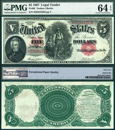 "1907 $5 United States Note AKA ""The Woodchopper"" PMG Graded CU64EPQ FR-88 Stacks Bowers 11-4-2014 LACLR"