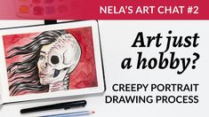 """I'll show you my process of drawing the sketch """"Skin deep"""", while discussing: what if you don't want to be a professional artist? Drawing Process, Process Art, Pentel Pocket Brush Pen, Mechanical Pencils, Sell On Etsy, Earn Money, Creative Business, Painting & Drawing, My Drawings"""