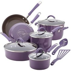 Rachael Ray Cucina 12-pc. Hard-Enamel Nonstick Cookware Set (Purple) (1.650 DKK) ❤ liked on Polyvore featuring home, kitchen & dining, cookware, purple, nonstick cookware set, purple cookware, enamel nonstick cookware, enamel cookware and rachael ray skillet