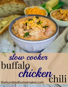 This buffalo chicken chili looks amazing!! I love that I can just put it in my crock pot and have a cozy meal without much prep work! This one uses cream cheese to produce a rich sauce...