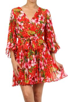 Hawaiian Print Pleated Chiffon Wrap Dress