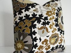 Suzani- Decorative Pillow Cover- Geometric- -Accent Pillow-Browns/Greys/Tans/Yellows/Black  and Cream throws and Lumbars