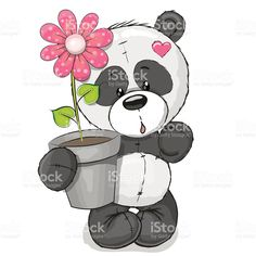 Illustration about Greeting card cute cartoon Panda with flower. Illustration of love, greeting, design - 59372650 Cartoon Panda, Cartoon Kids, Cute Cartoon, Panda Kawaii, Cute Panda, Colorful Drawings, Easy Drawings, Urso Bear, Cartoon Mignon