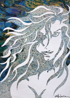 "Original Art , Female Figure in Mixed Media (handmade paper on paper) & metallic paint ""Torrent"" by Marcy Ann Villafaña  ""TORRENT"" 34"" x 42"" framed Mixed Media-  paper & metallic paint  www.VillafanaArt.com Kate Shaw, Angel Art, Metallic Paint, Mosaic Art, Mixed Media Art, Quilling, Original Art, Ann, Fiber"
