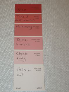 Use color swatch for anger management - I love that each one could be personalized for each student