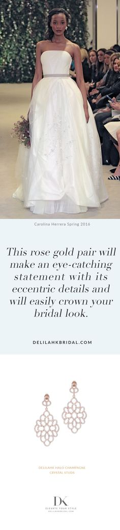 This rose gold pair will make an eye-catching statement with its eccentric details and will easily crown your bridal look. Bridal Looks, Elegant Wedding, Wedding Styles, Fashion Jewelry, Flower Girl Dresses, Glamour, Bride, Eccentric, Bridal Fashion