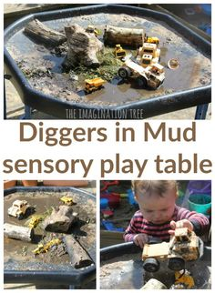 Make a diggers in the mud sensory play tray for lots of playful fun for toddlers and preschoolers to enjoy! Great messy and imaginative play for outdoors. Indoor Activities For Kids, Sensory Activities, Sensory Bins, Sensory Play, Toddler Activities, Sensory Table, Summer Activities, Family Activities, Preschool Activities