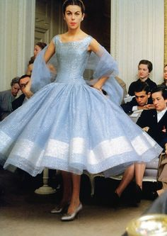 "Dior's house model Odile in shimmering dress called ""Zépherine"", Autumn/Winter collection H-Line 1954, photo by Mark Shaw, Paris."