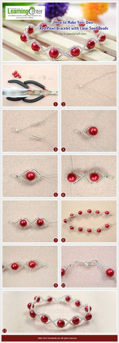 How to make your own red pearl bracelet with clear seed pearls More ร . - How to make your own red pearl bracelet with clear seed pearls More about P …# own b - Bead Jewellery, Wire Jewelry, Jewelry Crafts, Beaded Jewelry, Jewelery, Beaded Bracelets, Jewellery Making, Diy Bracelet, Jewellery Shops