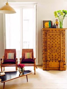 Oriental Antiques / Ethnic Wood Cabinet / MidCentury Armchairs / Kilim Rugs & Cushions /