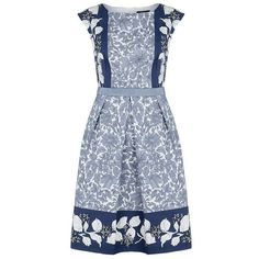 MaxMara Weekend Floral Print Cap Sleeve Dress ($320) ❤ liked on Polyvore featuring dresses, cotton floral dress, flower print dress, panel dresses, blue cap sleeve dress and tea party dresses