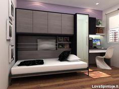 Horizontali pakeliama lova su uždaromis lentynomis aplink ją.