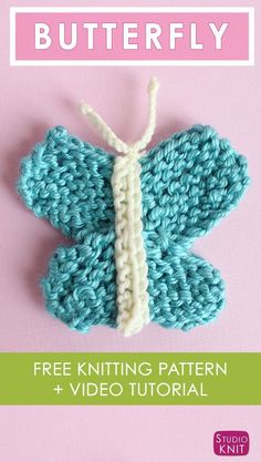 Love this pretty Butterfly Knitting Pattern with Easy Free Pattern   Video Tutorial by Studio Knit via @StudioKnit