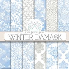 "Winter digital paper: "" WINTER DAMASK"" with #winter digital damask background, blue damask paper, watercolor damask, glitter damask patterns #watercolor #blue #damask #digitalpaper #scrapbookpaper #planner"
