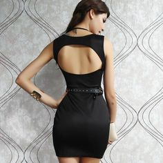awesome #fashion #dress #apparel #clothing Sexy Mini Dress Black and Roseo/White with Foil Free Shipping LC2928