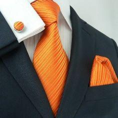 Landisun 26C Bright Orange Solids Mens Silk Tie Set: Tie+Hanky+Cufflinks