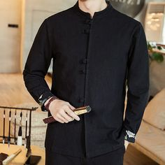 Nice Stand-up Collar Frog Button Shirt - Black - Chinese Shirts & Blouses - Men Chinese Shirt, Chinese Collar, Camisa China, Shirt Blouses, Shirts, Collar Blouse, Mandarin Collar, Stand Up, Buttons