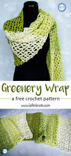This free and modern crochet pattern is a single skein project!  Use just one skein of Caron Cakes yarn to make this geometric triangle mesh wrap.  Tones of green make this wrap especially chic and a perfect spring time project.