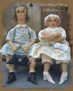 Primitive Moody Old Lady Dolls and purses Mood by SweetMeadowsFarm
