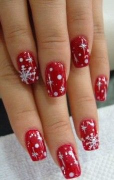 Snowflake & sparkling starry night sky in red & white vs. the more typical blue and white
