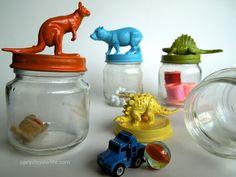 Image detail for - Upcycled+Baby+Food+Jar+Painted+Animal+Lids+DIY+Tutorial+v. Baby Jars, Baby Food Jars, Food Baby, Glass Jars, Mason Jars, Art For Kids, Crafts For Kids, Fall Crafts, Baby Food Jar Crafts
