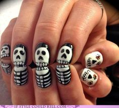 These nails are so friggin rad, I don't want to wait until my birthday (el dia de los muertos, or the 'Day of the Dead' on November 2nd -- also known as 'All Soul's Day' in Catholicism) to get'm done. #HAWT