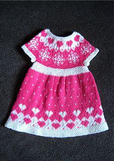 Baby girl dress knitting pattern fairisle colour-work
