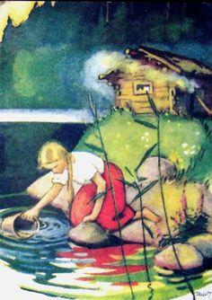 Menina no lago, ilustração de Martta Wendelin.