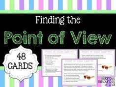 Each of the 48 Point of View Task Cards asks students to choose the points of view of the text. Texts include poems, passages and sentences with five types of point of view to choose from. Product includes: - 48 Point of View Task Cards- Point of View Definitions/Examples Sheet for Student Use- Answer SheetPlease follow me for information about additional rigorous products from my store.