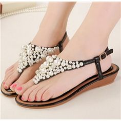 Dazzling Rhinestone Pearl Decoration  Ankle Strap Wedge Sandals