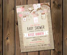 Burlap Rustic Baby Girl Shower Invitation, Mason Jar, Shabby Chic, Pink _53 by Silvergaze on Etsy https://www.etsy.com/listing/219582130/burlap-rustic-baby-girl-shower